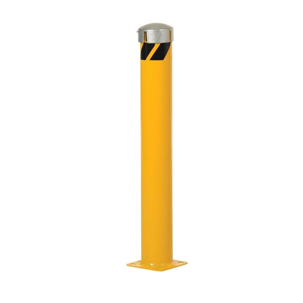 42 in. X 5.5 in. Yellow Steel Pipe Safety Bollard with Slot & Sleeve Cap