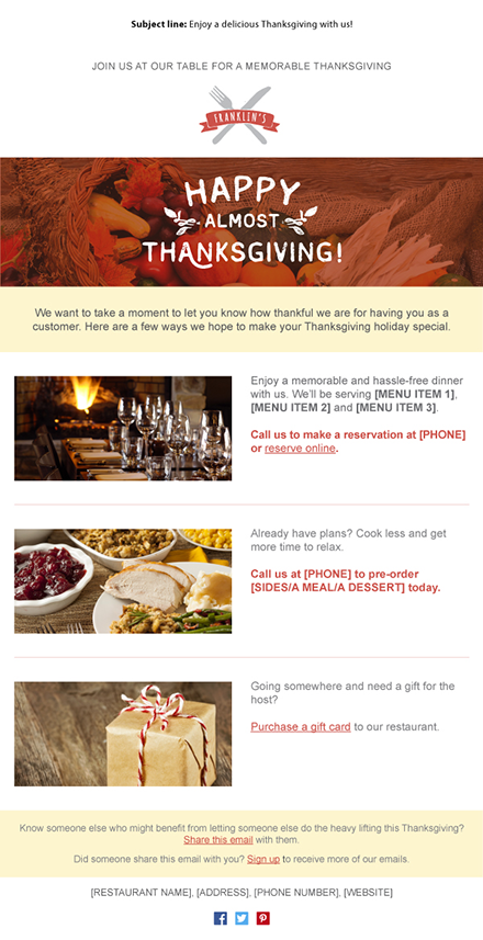 Holiday Email Templates For Small Businesses Nonprofits - Thanksgiving email template