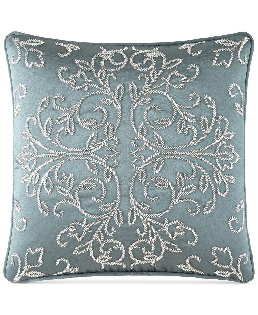 Waterford Dunham 14 X 14 Square Decorative Pillow Bedding Collections Bed Bath Macy S Cushion Embroidery Decorative Pillows Vintage Cushions