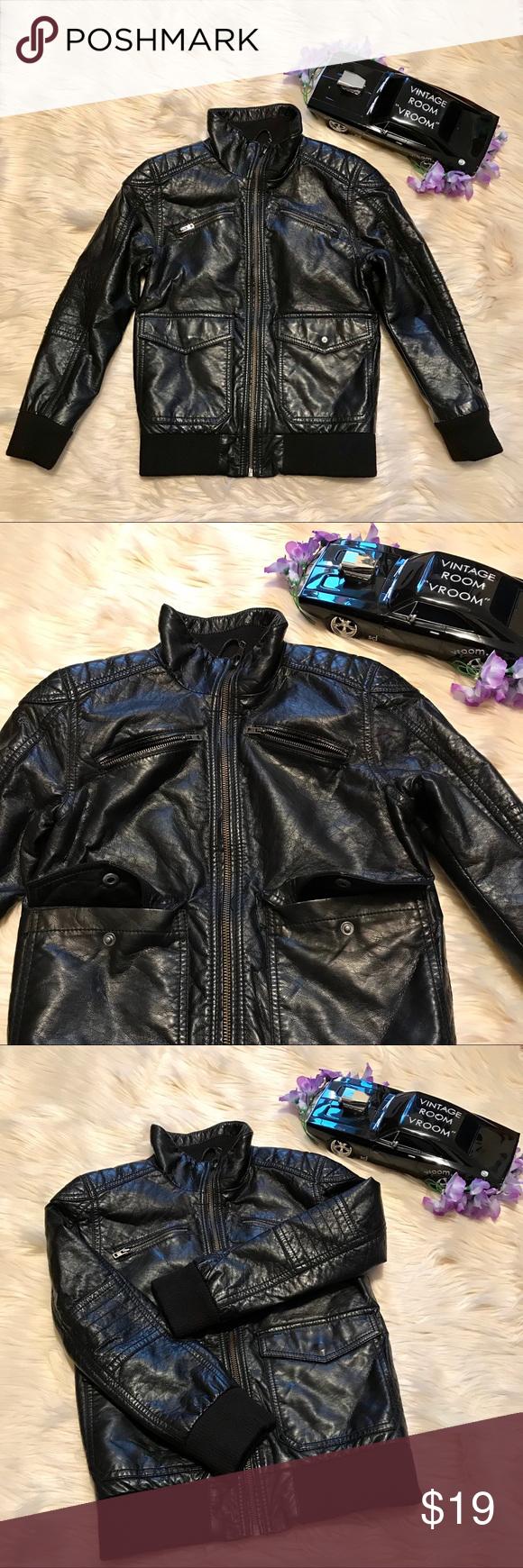 H&M Black Faux Leather Jacket for Boys Black faux