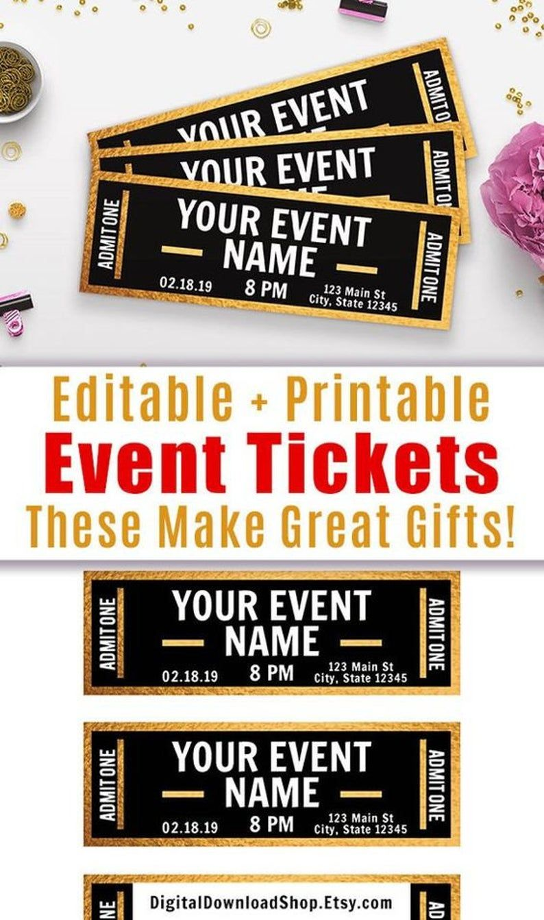 Gold Event Ticket Printables Editable Event Tickets Event Ticket Template Printable Diy Event Ticket Fake Concert Ticket Download In 2021 Ticket Template Printable Diy Event Ticket Template Event ticket template free download