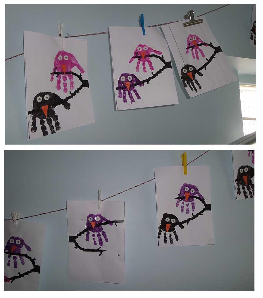 Anaokulu Kuşlar Tema çalışması El Izi Karga Boyama Hand Print