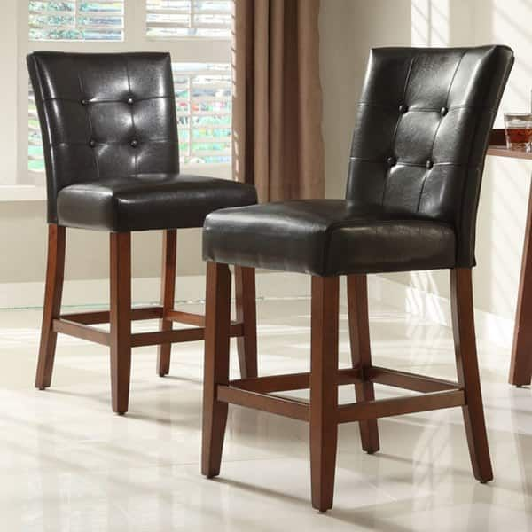 Tufted Button High Back Dark Brown Pu 24 Inch High Back Stools Set