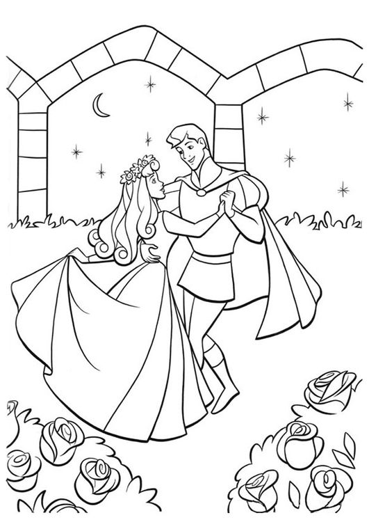 Coloring page Sleeping Beauty with prince | Disney Sleeping Beauty ...