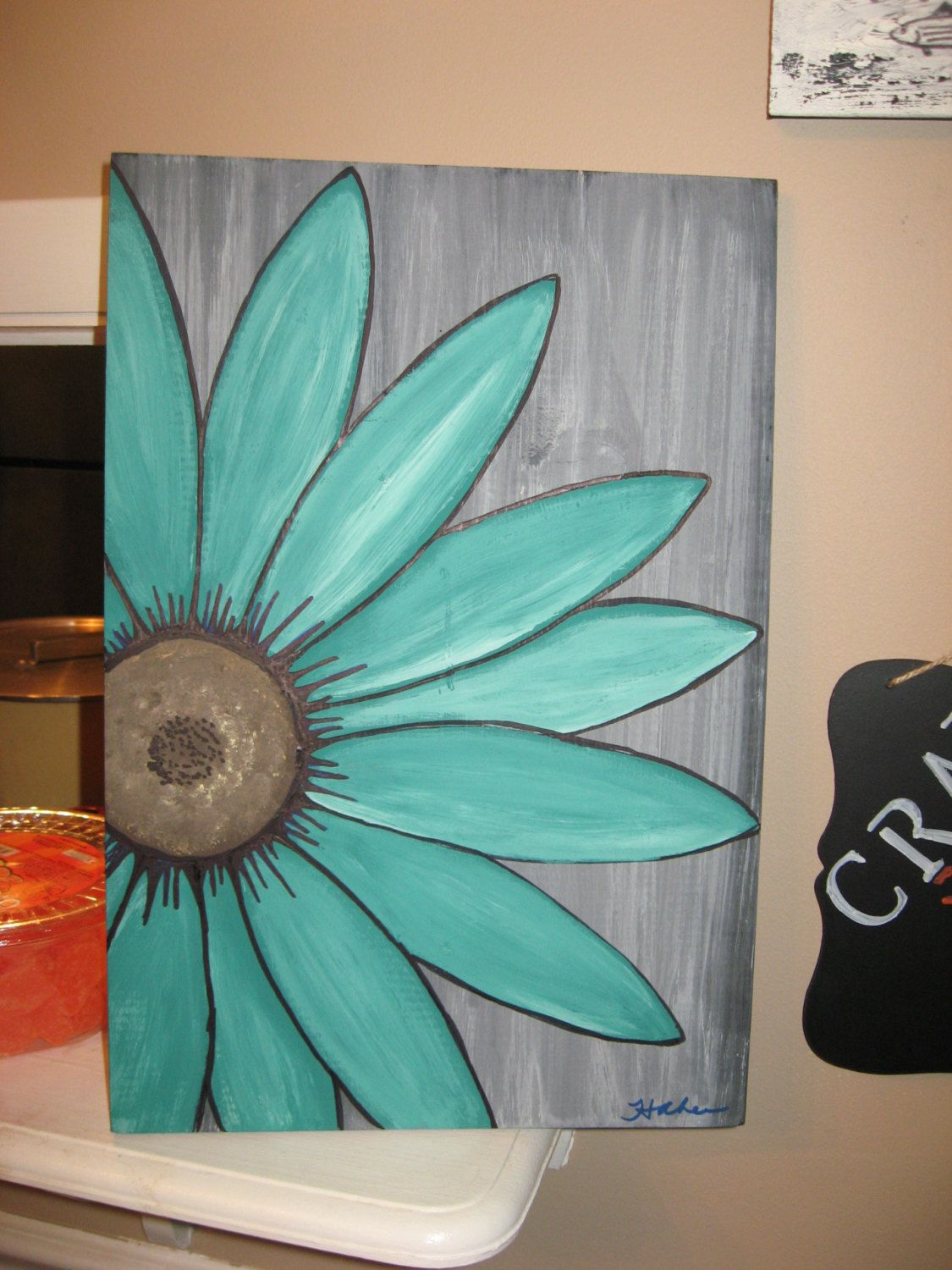 Turquoise flower daisy painting rustic flower wood flower ...