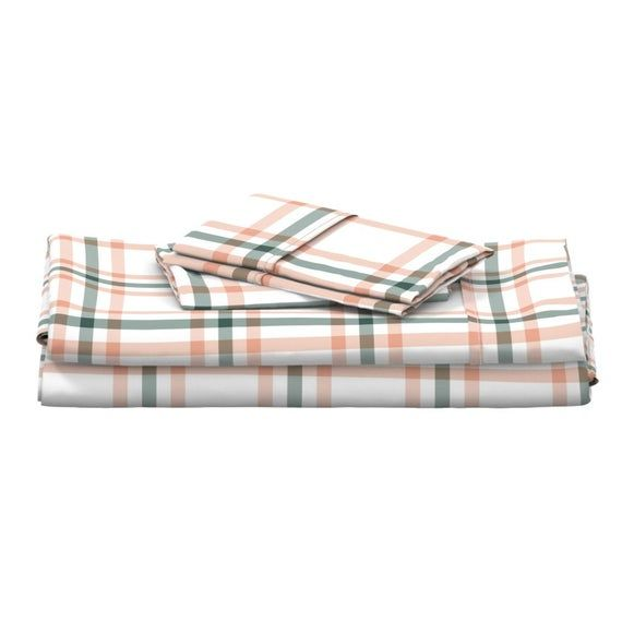 Plaid Sheets - Sage & Coral Plaid by the_lemon_bee - Tartan  Country Farmhouse Nursery Lines Cotton