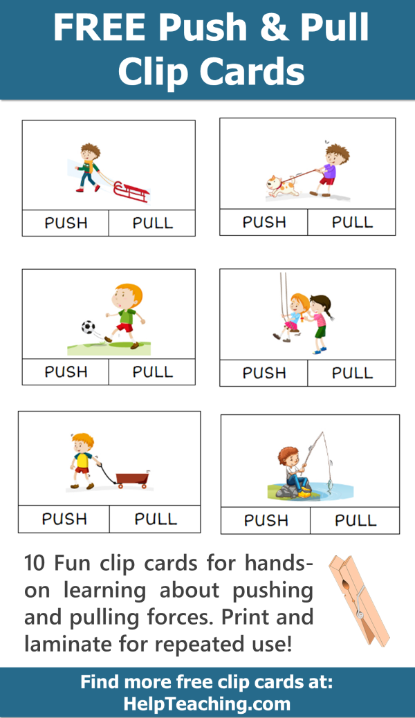 Free Push And Pull Clip Card Printables For Learning About Forces