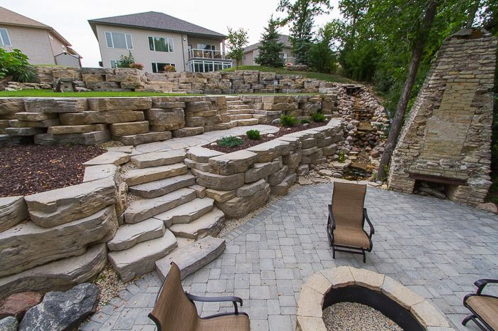 Fon Du Lac Rosetta Outcropping Retaining Wall And Stairs Hardscape Outdoor Landscaping House Landscape