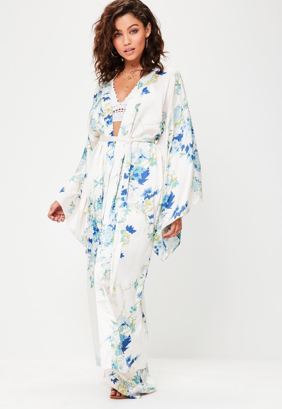 3820ff7894 Missguided - Cream Floral Print Satin Kimono