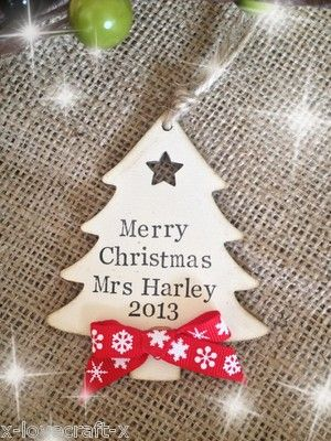 Personalised Merry Christmas Teacher Wooden Tree Decoration Teacher Christmas Gifts Christmas Gift Decorations Christmas Gifts To Make