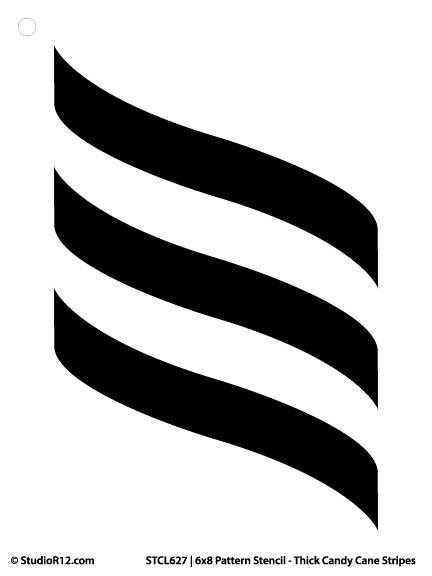 "Pattern Stencil - Thick Candy Cane Stripes - 6"" x 8 ..."