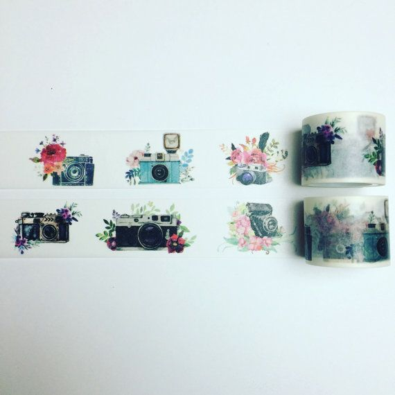 Beautiful camera and flowers washi tape £2.50 from little rainbow moon on Etsy