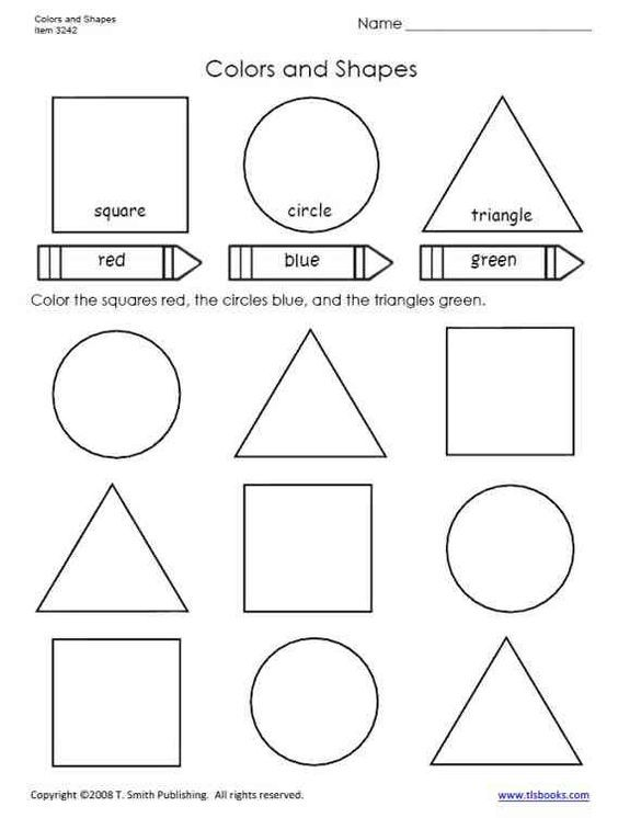 Colors and Shapes worksheet from tlsbooks.com | Trazos pre pre ...