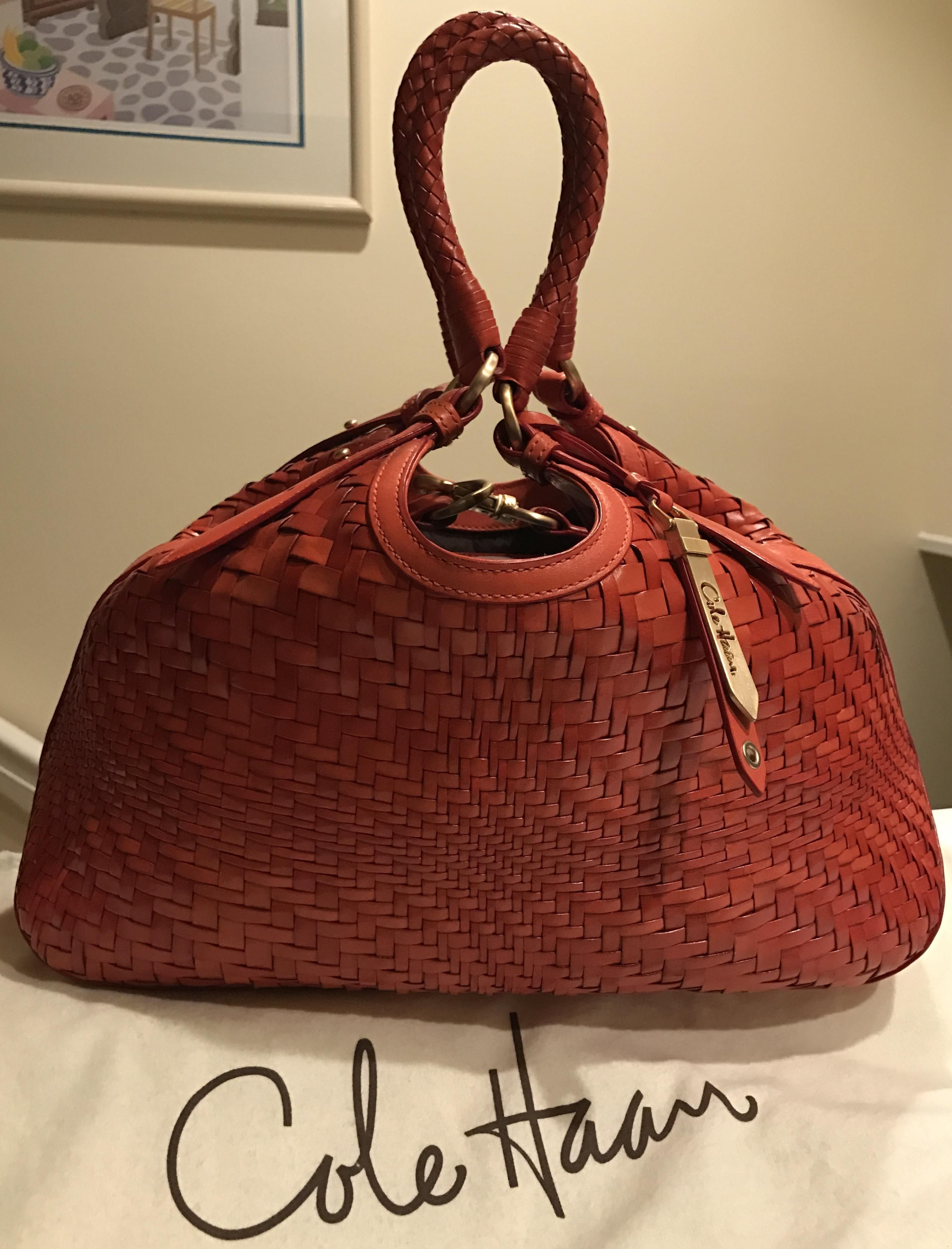 Cole Haan Genevieve Like New! Woven Leather Weave Hobo Satchel Spicy Orange    Red Orange Brown Tote Bag. Get one of the hottest styles of the season! de5e2a3c40c25