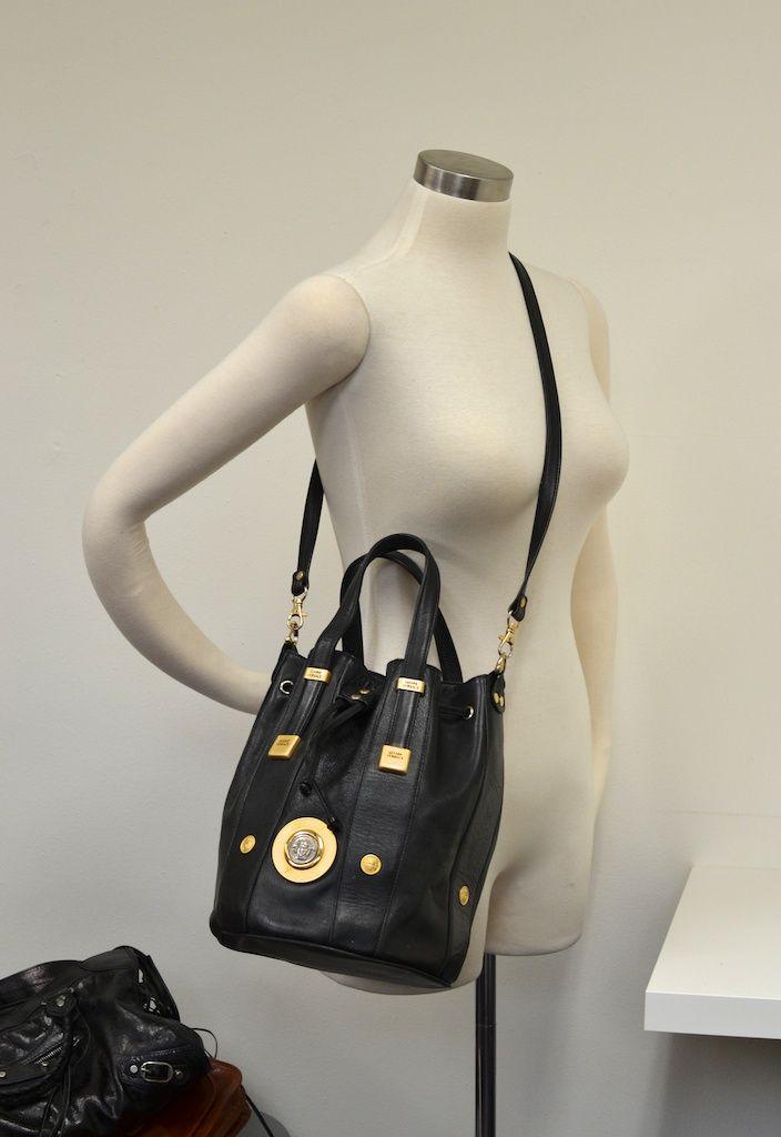 Vtg Gianni VERSACE Black Leather Bucket Bag Gaga Medusa Crossbody ... cd7c973455ca0