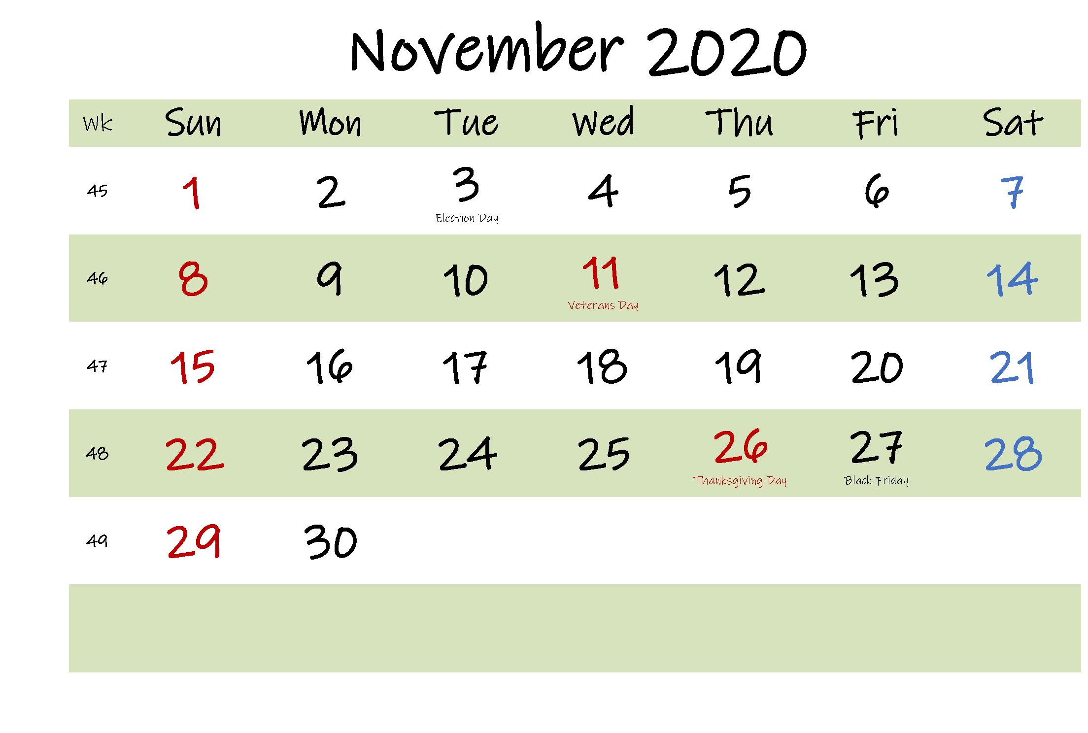 November 2020 Calendar Excel Horizontal In 2020 Calendar Template Excel Calendar Free Printable Calendar Templates