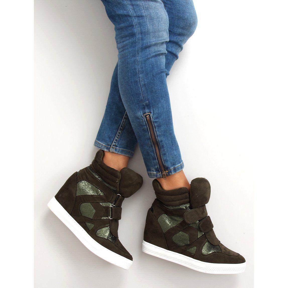 Sportowe Damskie Obuwiedamskie Zielone Zamszowe Sneakersy Zapiecie Na Rzep Fa147 Obuwie Damskie Wedge Sneaker High Top Sneakers Shoes