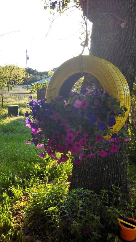 Great idea for old tires did this in our front yard soon cute