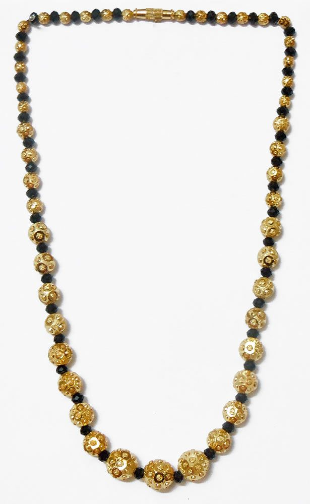 4ab9db8b2 Black Crystal with Gold Plated Bead Necklace ( Metal And Stone)