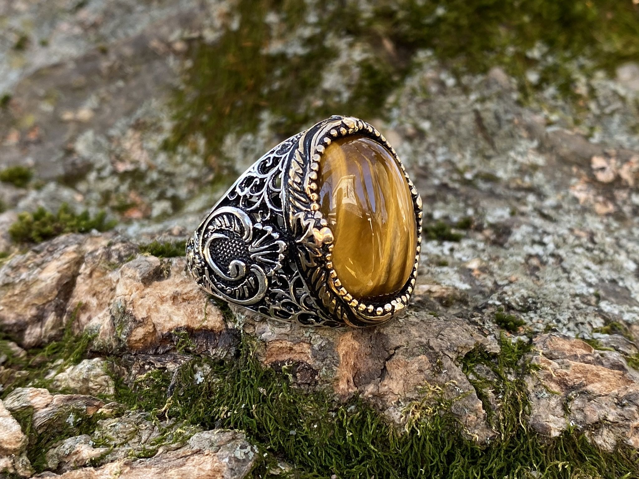 925 Sterling Silver Rings For Women Natural Tiger Eye Ring Gemstone Handmade Jewelry Ladies Ring Free Shipping
