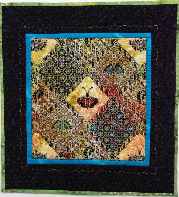 Batik Art Quilt Hand Embellished Wall Art