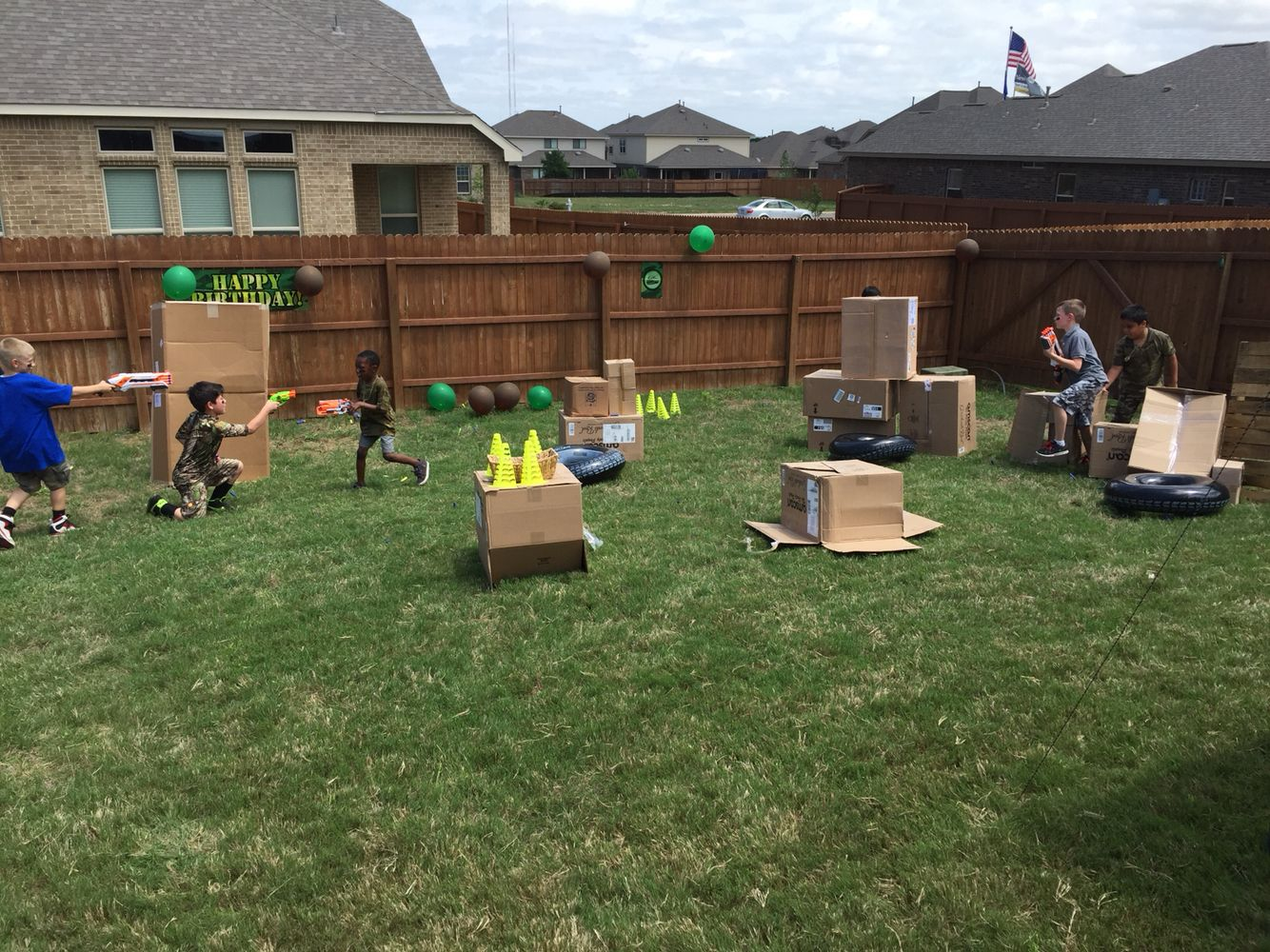 nerf gun game army guy shootout army guys cardboard boxes and army