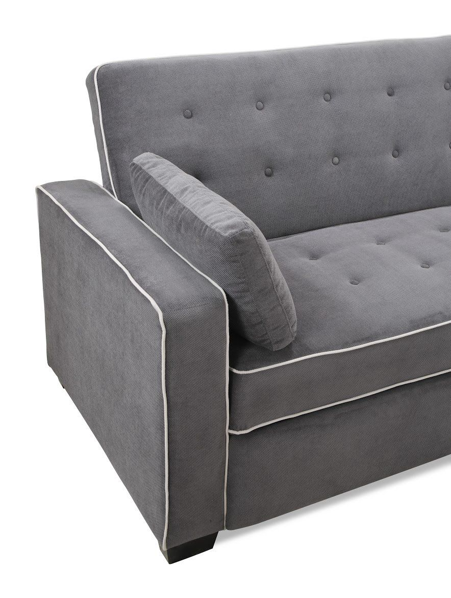 Awesome Grey Sofa With White Piping