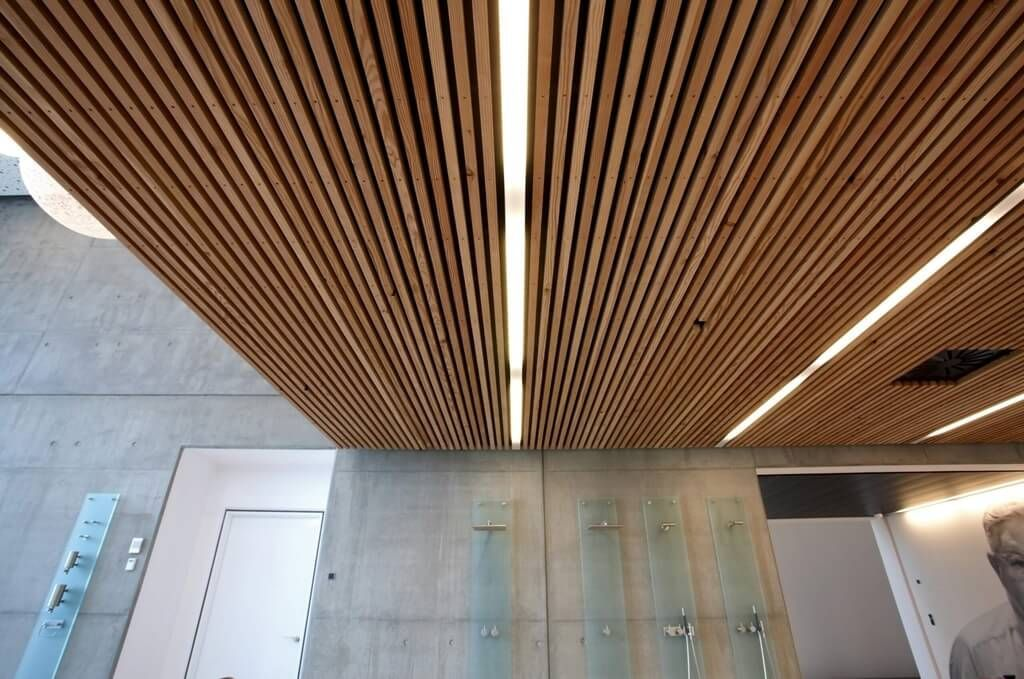 Stunning Slatted Wood Ceiling Panels Design For Contemporary Home