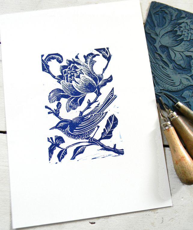 Blue Bird Original Hand Printed Linocut Print