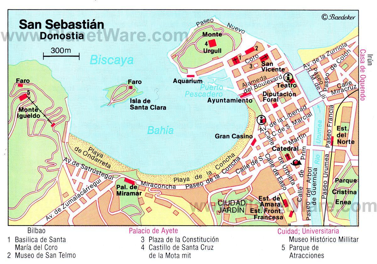 San Sebastián Map - Tourist Attractions | Spain Portugal ...