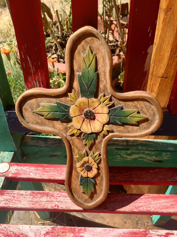 cross wooden carved cross flowers Mexican folk art southwest