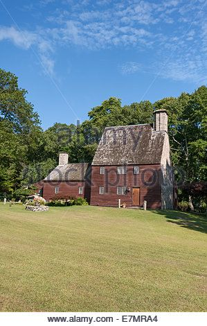 Armand LaMontagne hand built this replica house of the 17th Century Stone-ender Farm in Scituate Rhode Island USA - Stock Photo