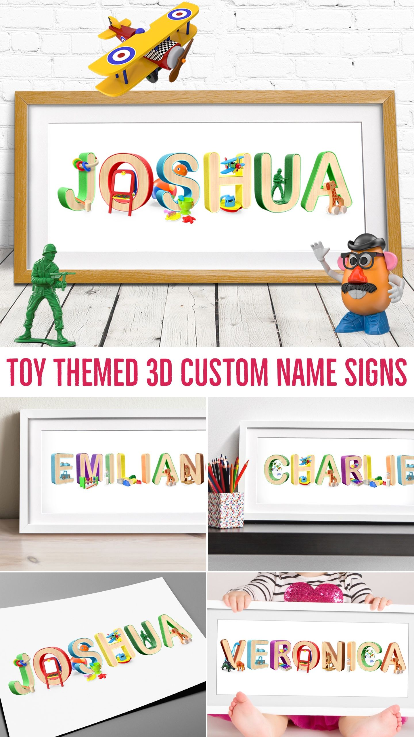 d32938bb6c879 Toy Nursery Art / Baby Name Art Nursery Decor / Baby Personalised ...
