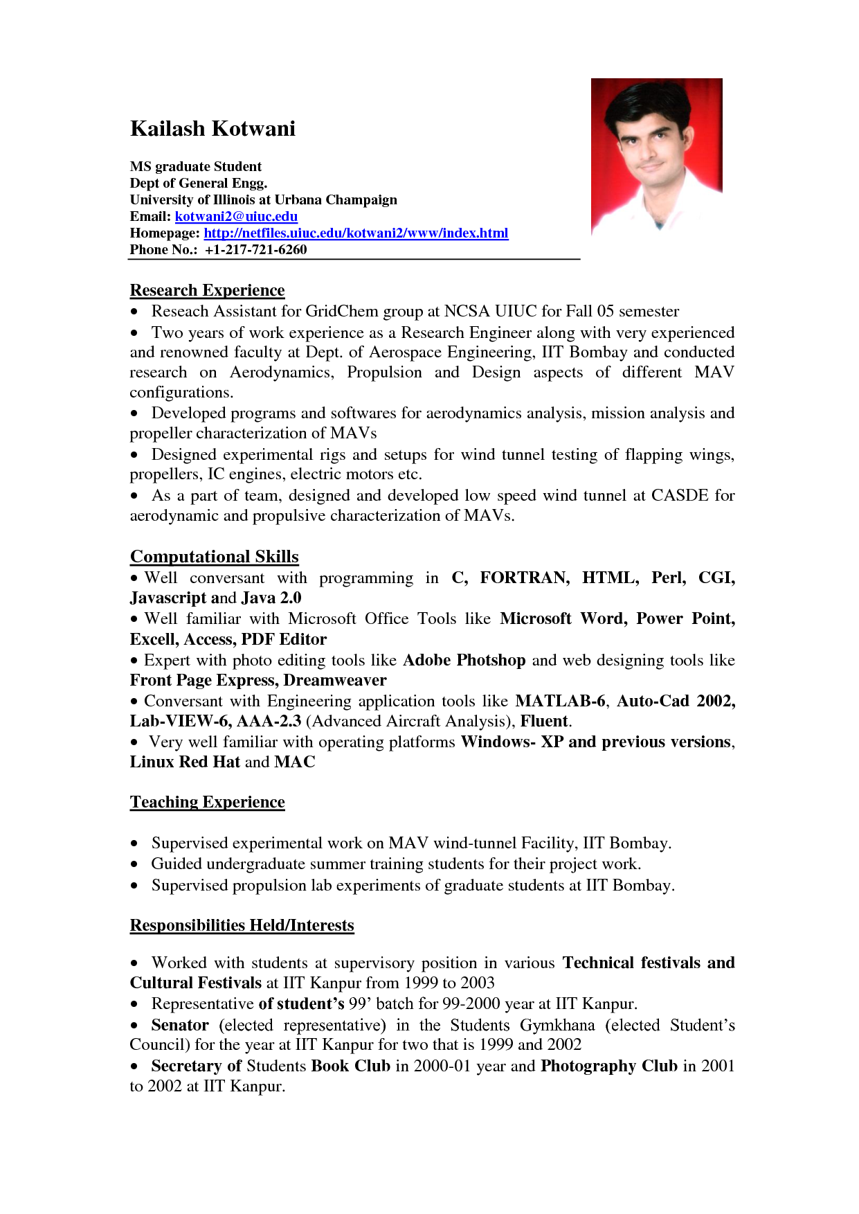 Sample resume with work experience