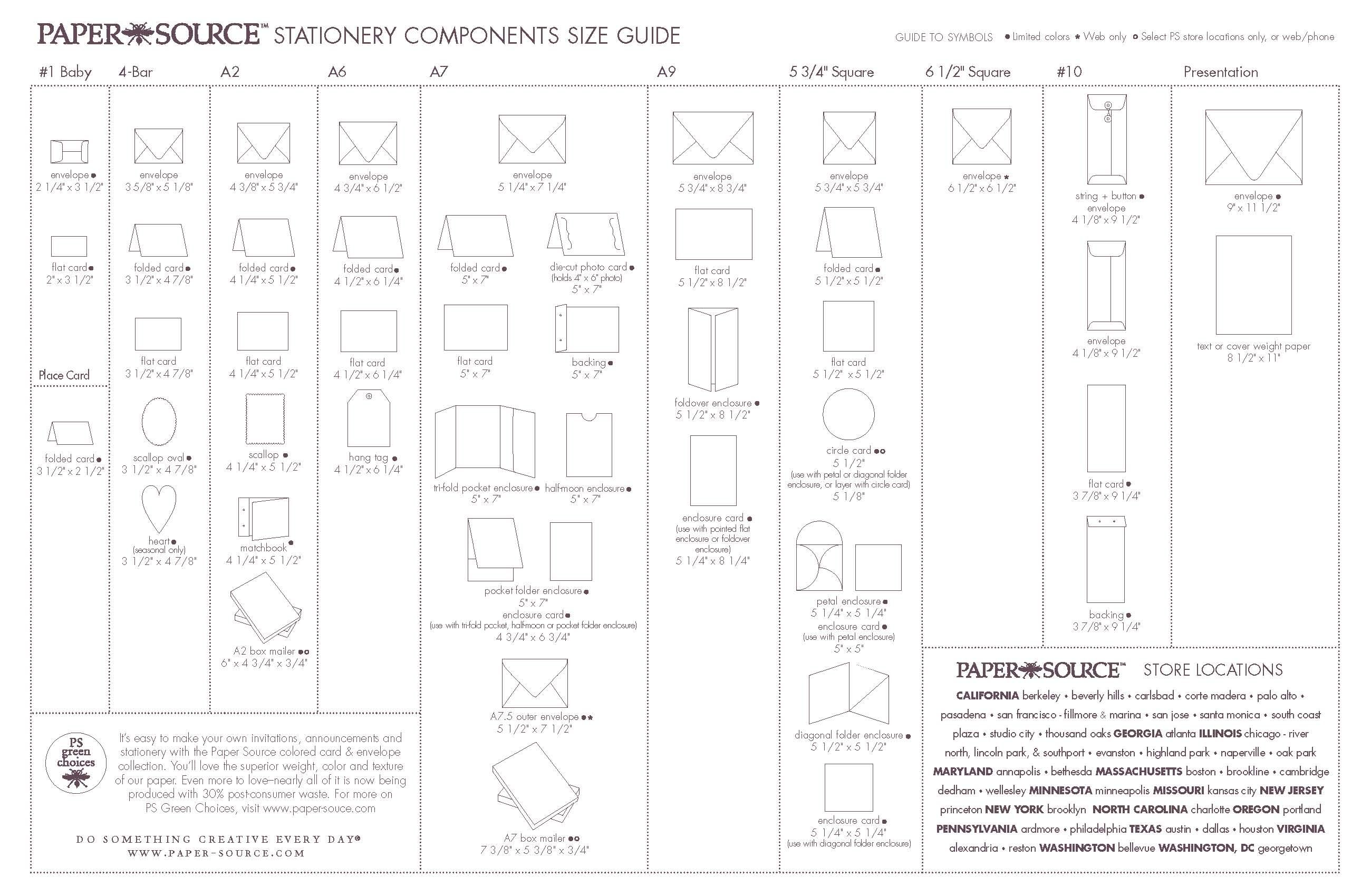 Stationery Components Size Guide EnvelopeCard Size Chart