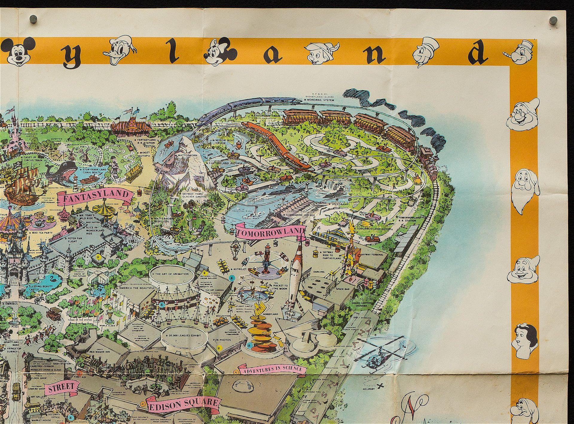 Rare Vintage Original 1958 Disneyland Theme Park Souvenir Map