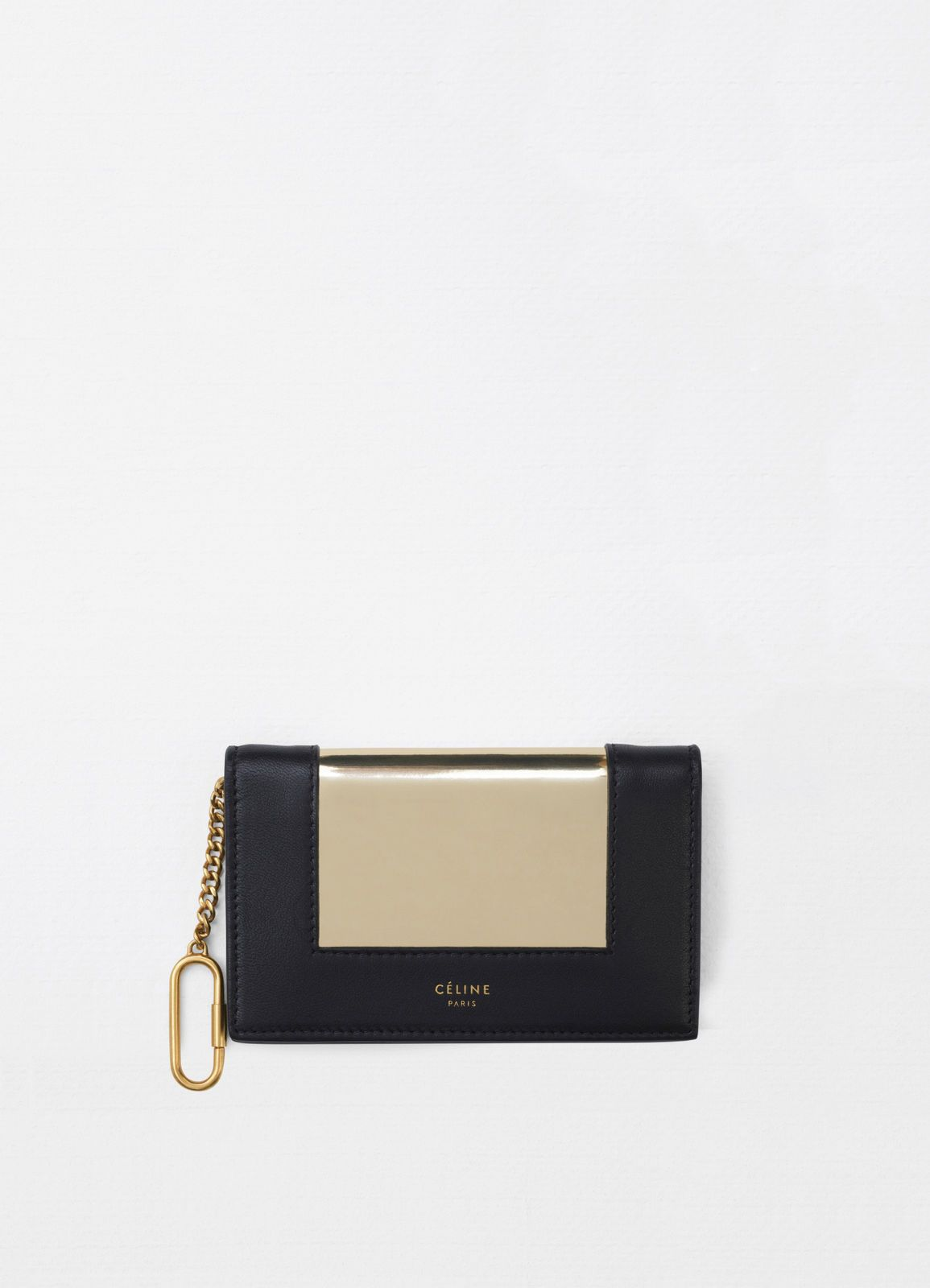 Frame coin and card purse on chain in metallic calfskin and smooth lambskin    CÉLINE Small e311333346