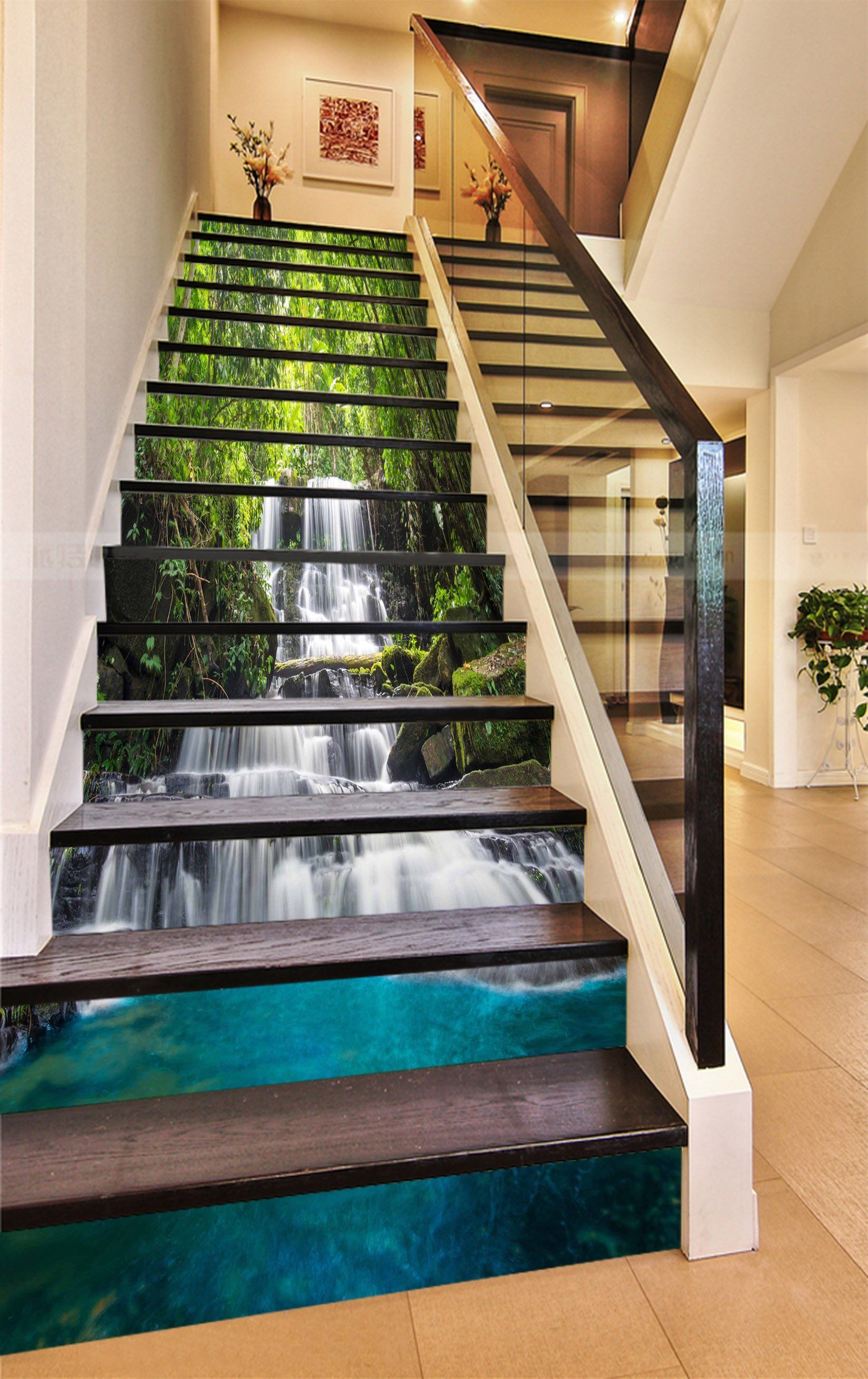 3d Forest Flowing Waterfall 815 Stair Risers Aj Wallpaper