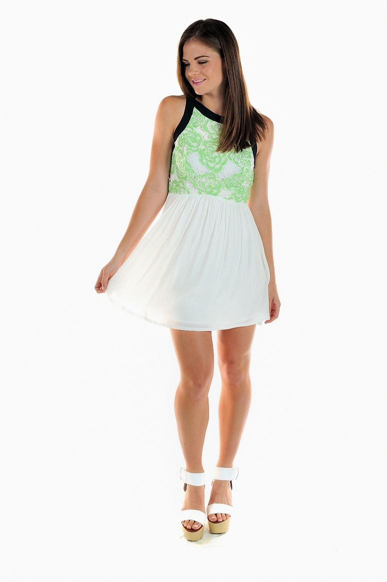 Green Floral Print & White Skater Dress #partydress #summer #black #trim