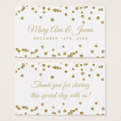 Wedding Favor Tag Gold Faux Glitter Confetti White Glitter - confeti