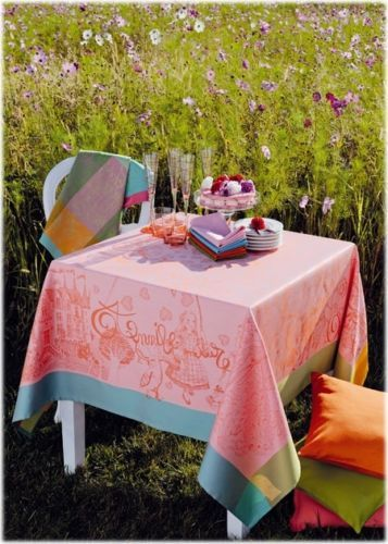 Oh To Have A Lil Girl To Spoil And Have Tea Parties With... Garnier  Thiebaut TABLECLOTH Alice In Wonderland Fiesta French STAIN RESISTANT