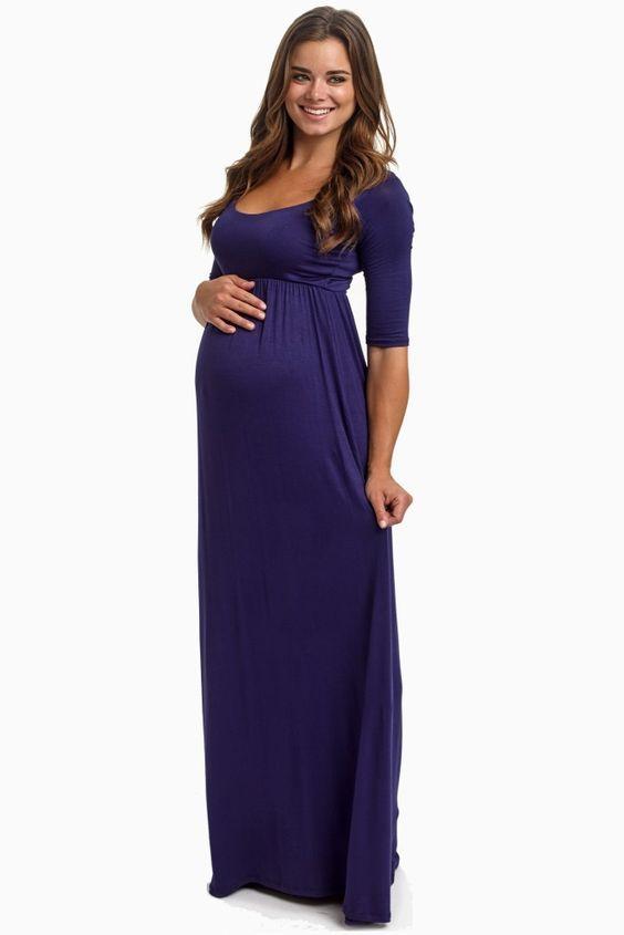 7a6da4f1b3 Navy Blue 3 4 Sleeve Maternity Maxi Dress