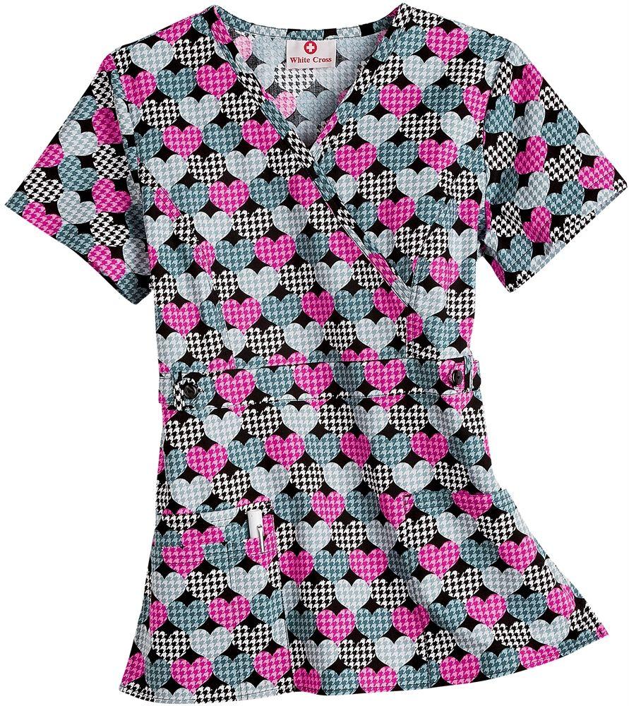 Valentines Day Nursing Scrubs White Cross 100 Cotton