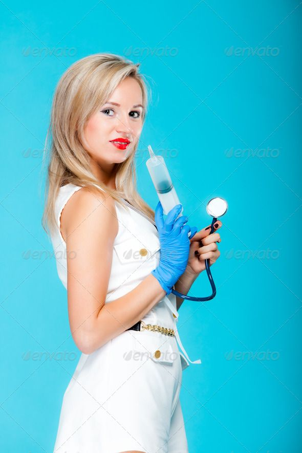 Funny sexy girl doctor nurse with syringe stethoscope ... care, check,  disease