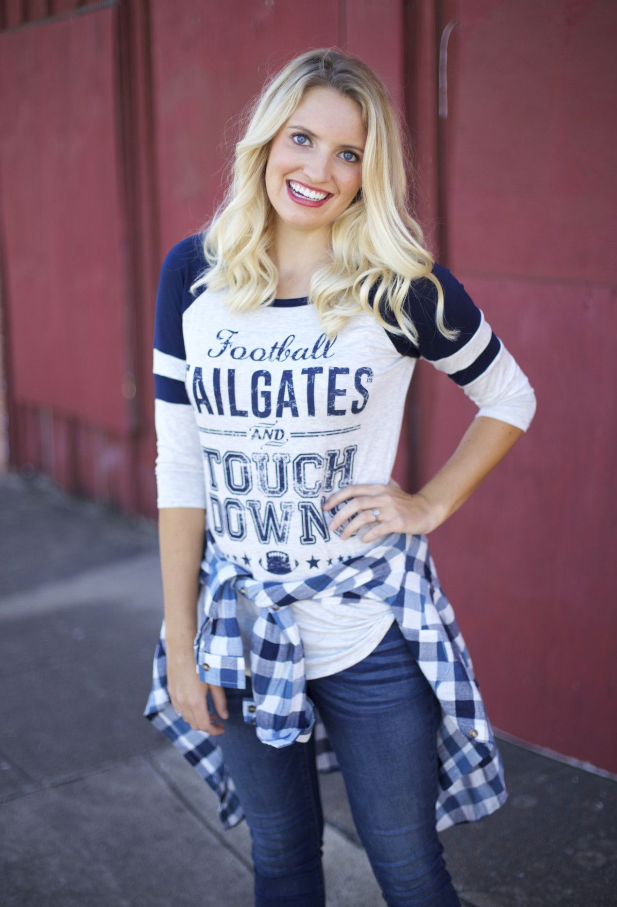 Football Tailgates and Touchdowns T, Navy/White