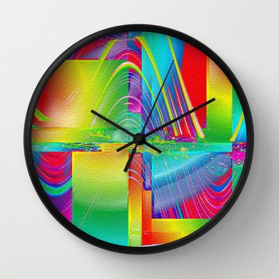 Alambrima Wall Clock By Shiva Camille Wall Clock Clock Abstract Digital Art