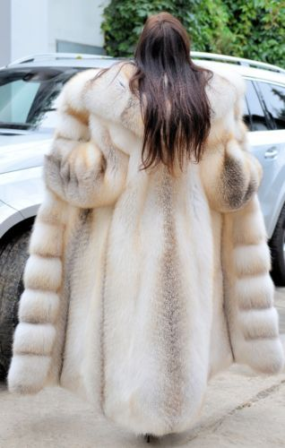 GOLDEN ISLAND ROYAL FOX FUR LONG COAT CLASS- CHINCHILLA SABLE MINK SILVER JACKET