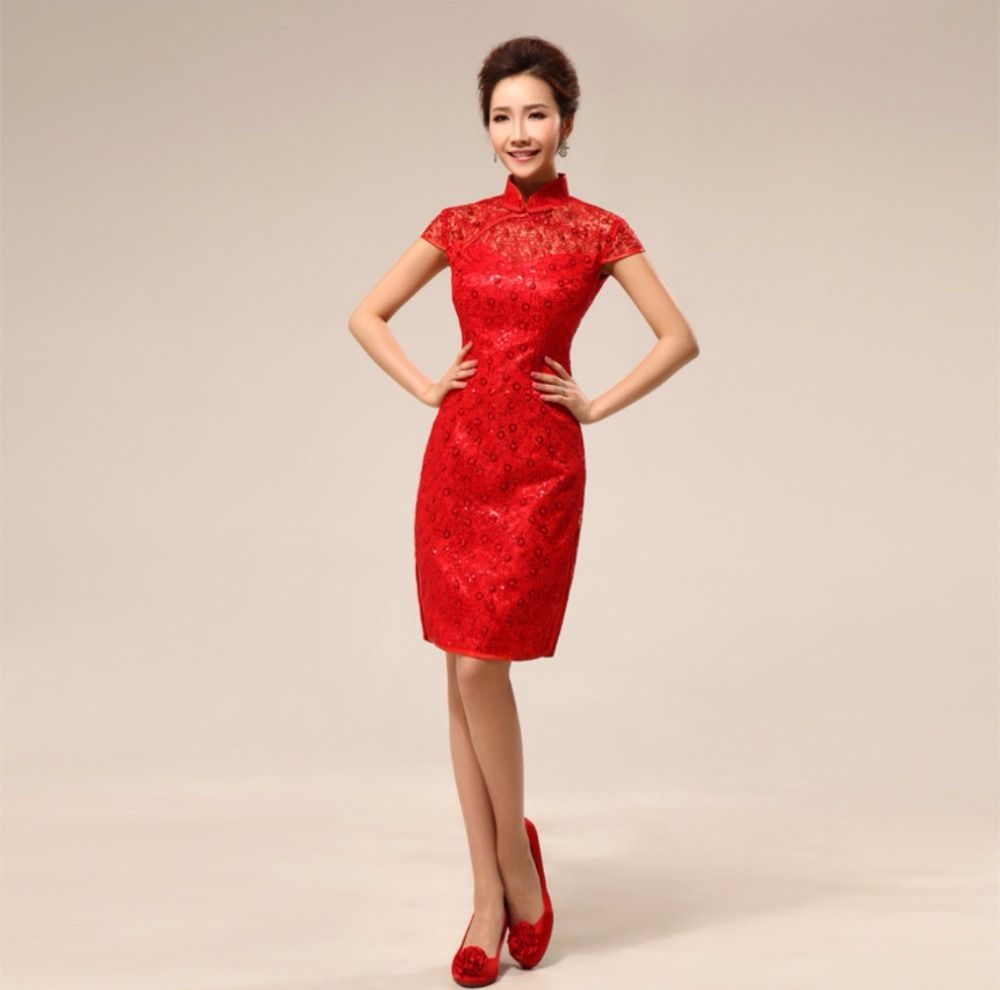 Free shipping lace cheongsam traditional dress party short bridal