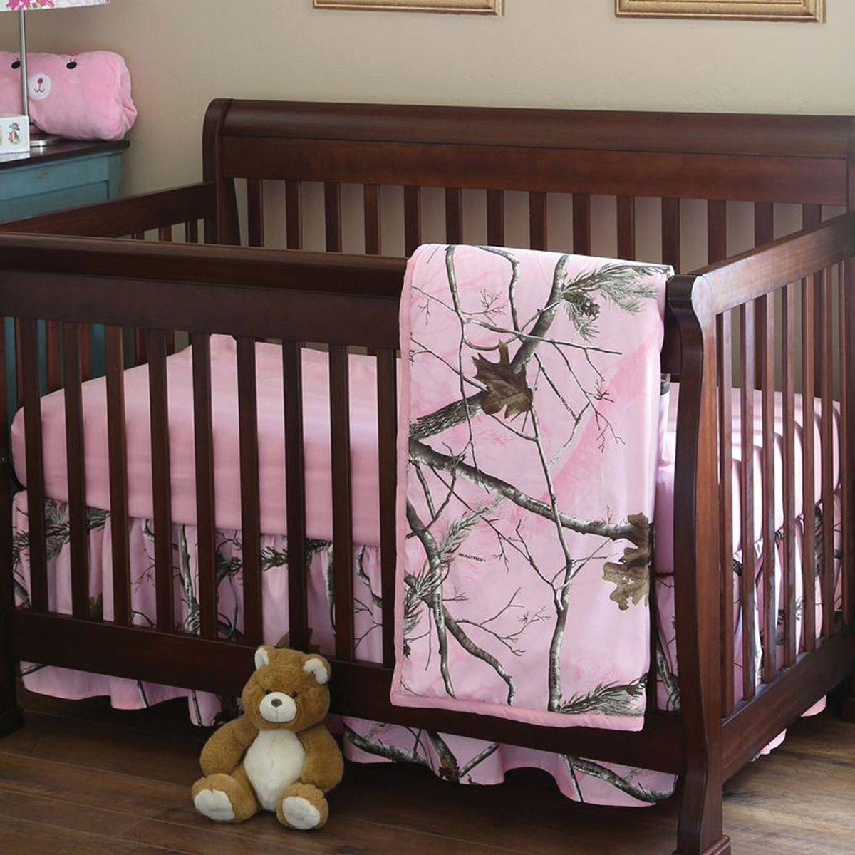 Pink Camo Realtree Ap Crib Set 3 Pcs