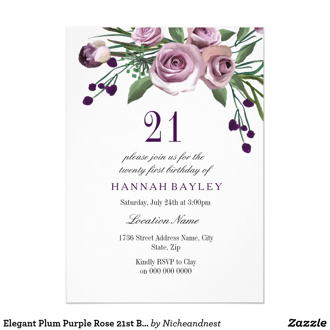Elegant Plum Purple Rose 21st Birthday Invitation